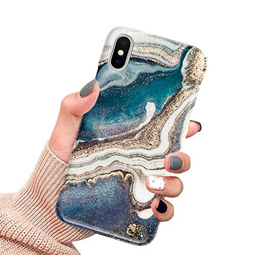CXvwons Hülle für iPhone XS, Ultra dünn Weich TPU Silikon Handyhülle Mode Chic 3D Muster Schutzhülle Case für iPhone XS X Slim Kratzfeste Stoßfest Schutz Tasche Schale für iPhone XS X Bumper Cover