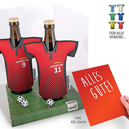 vereins-Trikot-kühler Away für Eintracht Frankfurt Fans   2er Geschenk-Box-Edition  2X Trikots   Fußball Fanartikel Jersey Bierkühler by Ligakakao