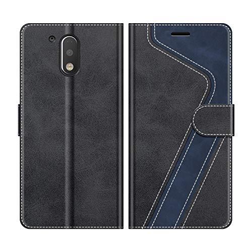 MOBESV Handyhülle für Motorola Moto G4 Hülle Leder, Motorola Moto G4 Klapphülle Handytasche Case für Motorola Moto G4 / Moto G4 Plus Handy Hüllen, Schwarz