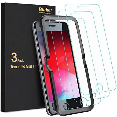Blukar Panzerglas für iPhone SE 2020, iPhone 8, iPhone 7, iPhone 6s und iPhone 6 mit Positionierhilfe, 9H-Härte, Blasenfrei, Kratzfest, 3 Stück