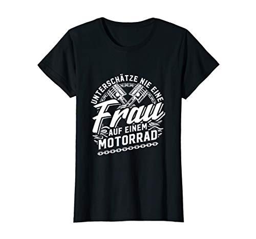 Damen Coole Motorradfahrerin Heiße Bikerin Spruch Motorrad Damen T-Shirt