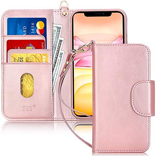 FYY Handyhülle für iPhone 11 6.1, iPhone 11 Hülle, Lederhülle mit Standfunktion & Kartenfach TPU Innenraum und [RFID-Schutz] Handytasche für Apple iPhone 11 6.1 Zoll (2019)-Rose Gold