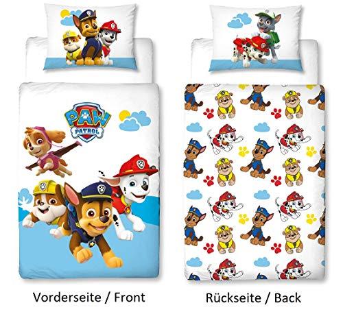 Character World PAW Patrol Kleinkind-Bettwäsche Set, Wende-Motiv, Bett-bezug 100 x 135 cm, Kopfkissen-bezug 40 x 60 cm,100{0e94e5596b9981291e097a7646c228873714abf8a5de17db63b0c9caf78a77d3} Baumwolle Cloud