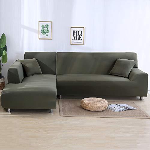 NIBESSER Sofabezug Sofaüberwürfe für L-Form Sofa elastische Stretch Sofabezug (2 Sitzer+3 Sitzer, Graugrün)