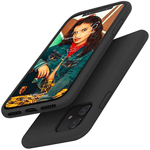Gorain Hülle für iPhone 11, Flüssig Silikon Kratzfeste Handyhülle rutschfeste Schutzhülle Schale Stoßfestes Bumper Case Handyschale für iPhone 11 6.1 Zoll - Schwarz