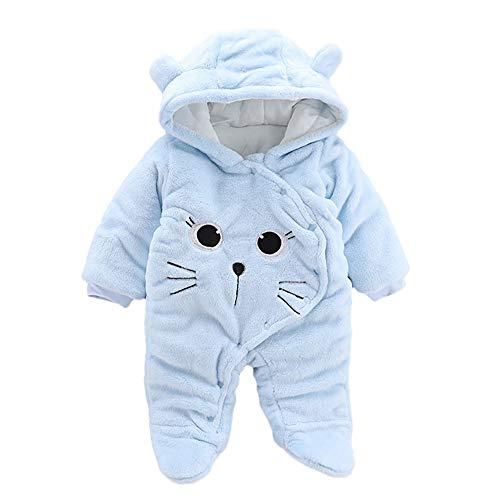 Proumy ◕ˇ∀ˇ◕ Baby Kleidung Jungen Mädchen Winter Fleece Overall Mit Kapuze Mädchen Jungen Schneeanzüge Warm Strampler Outfits 0-12 Monate (Hellblau,3-6Months)