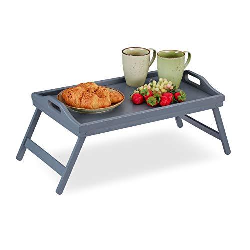 Relaxdays Betttablett Bambus, klappbare Beine, erhöhter Rand, Frühstückstablett fürs Bett, HBT: 6,5 x 50 x 30 cm, grau