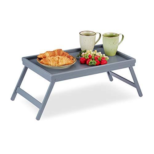 Relaxdays Betttablett Bambus, klappbare Beine, erhöhter Rand, Frühstückstablett fürs Bett, HBT: 4 x 50 x 31 cm, grau