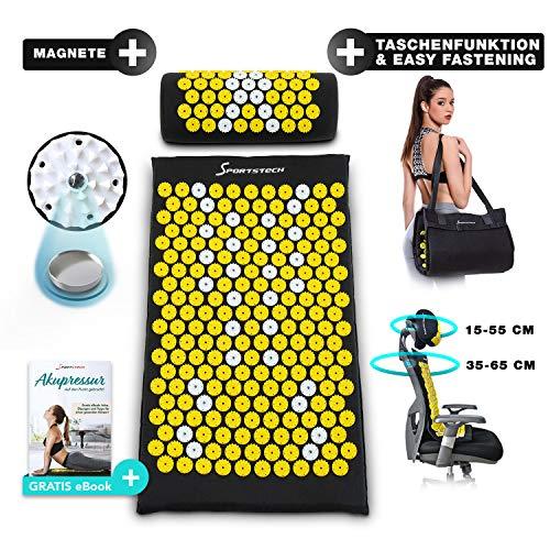 Sportstech Akupressurmatte AXM200 mit Kissen wie Shakti Matte   ideal im Set Massage Matte + Akupressur als perfektes Geschenk für Frauen   für wohltuende Entspannung bzw. Durchblutung   inkl. Magnete