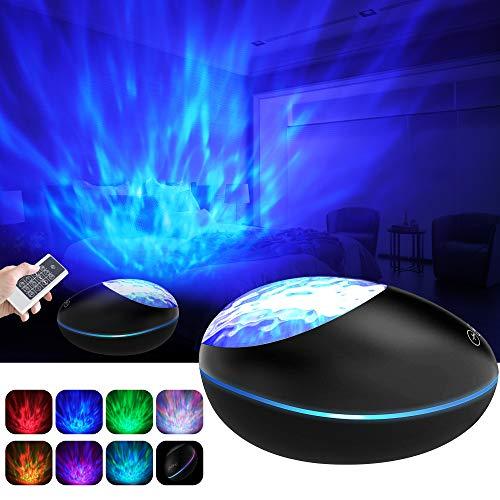 Projektor Lampe Ozeanwellen Projektor Kinder Nachtlicht mit Bluetooth 5.0, Fernbedienung und Timer 360° Drehen 8 Beleuchtungsmodi und 8 Musik, TF-Karte AUX Stimmungslicht für Geschenk (Schwarz)