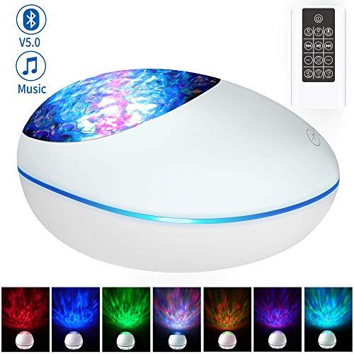 Projektor Lampe LED Projektor Bluetooth Musik Stimmungslicht mit Fernbedienung Timer, 8 Farbwechsel Ozeanwelleneffekt Nachtlicht Support TF-Karte AUX für Geschenke/Dekoration/Kinder/Erwachsene