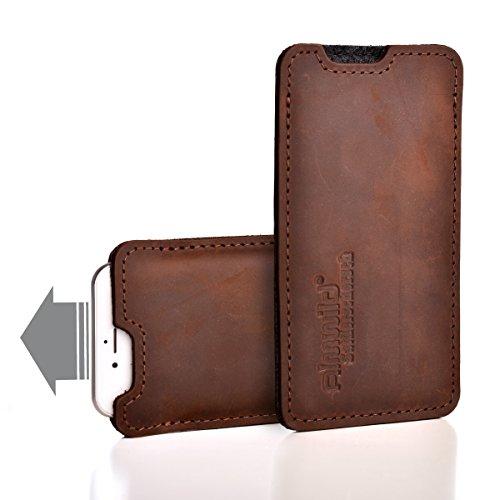 Almwild® Hülle, Tasche passend für Apple iPhone 11 Pro Max MIT Apple Leder Case/Silikon Case aus echtem Rinds- Leder. In Braun. Handyhülle in Bayern handgefertigt. Modell Sattlerschorsch