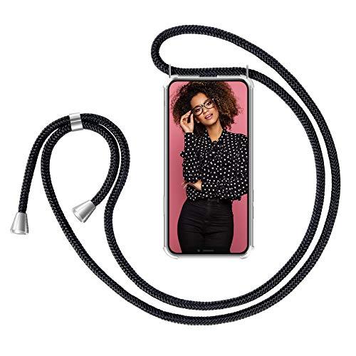 """ZhinkArts Handykette kompatibel mit Apple iPhone 11 Pro Max - 6,5\"""" Display - Smartphone Necklace Hülle mit Band - Schnur mit Case zum umhängen in Schwarz"""