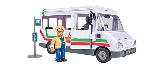 Simba – Feuerwehrmann Sam Trevors Bus, mit Trevor Figur, mit Crashfunktion, Türen und Dach zum Öffnen, 21cm, für Kinder ab 3 Jahren