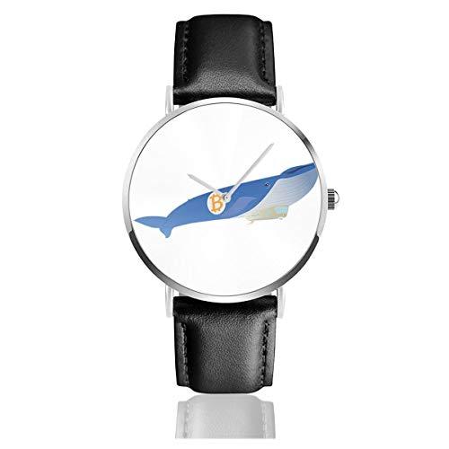 Unisex Business Casual Bitcoin Whale Blimp Flying High Watches Quarz Leder Armbanduhr mit schwarzem Lederband für Männer Frauen Young Collection Geschenk