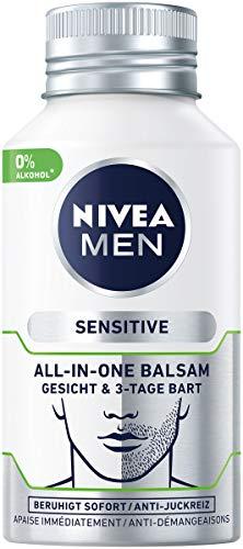 NIVEA MEN Sensitive All-In-One Balsam Gesicht & 3-Tage Bart (125 ml), beruhigende Gesichtspflege, Feuchtigkeitscreme mit Kamille & Mandelöl