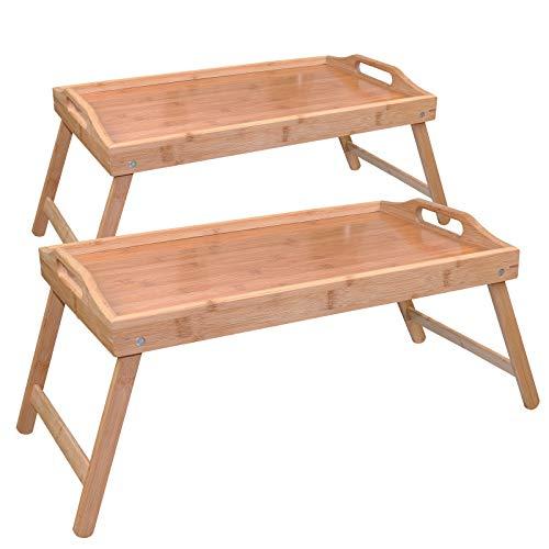 WELLGRO 2er Set Bambus Tablett - mit klappbaren Beinen - 50 x 30 x 26 cm (LxBxH) - Serviertablett mit Tragegriffen - Tabletttisch - Frühstückstisch