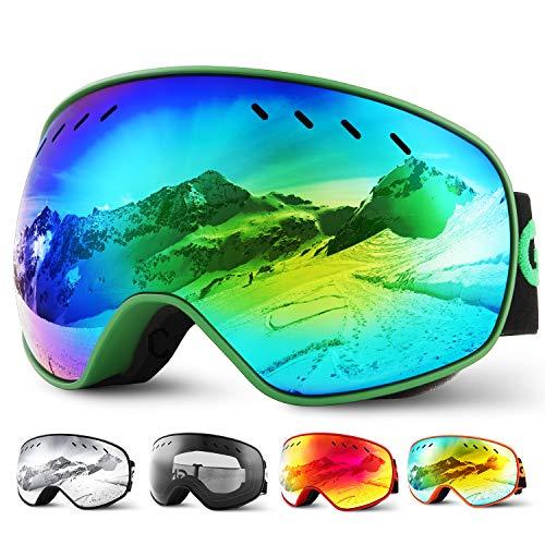Glymnis Skibrille Snowboard Brille Schneebrille Doppel-Objektiv Schutzbrillen UV-Schutz Anti-Nebel Winddicht für Skifahren Skaten Damen und Herren Jungen und Mädchen mit Reißverschlussbox (Grün)