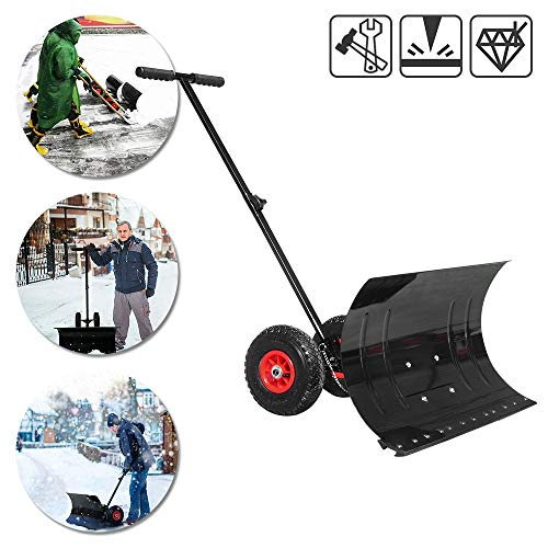 Froadp Mobile Schneeschieber auf Rädern Höhenverstellbar Schneeschaufel Schneeräumen mit 74cm Extra-breiten Kunststoffüberzug Blatt(Schwarz)