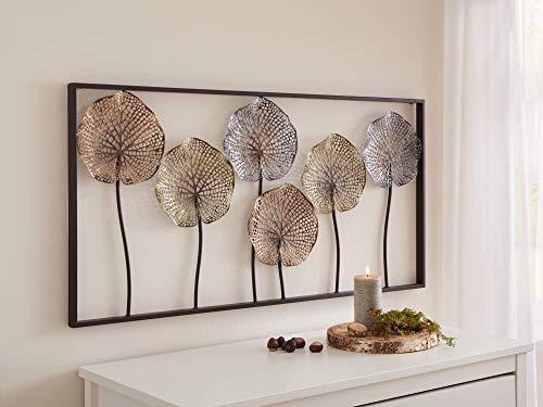 """3D Wandbild\""""Lotus\"""" aus Metall, 100x50 cm, Wandschmuck, Wanddeko, Wandverzierung, Deko-Objekt"""