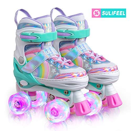 Sulifeel Ice Snow Verstellbar Rollschuhe für Kinder mit Leuchtenden Rädern Roller Skates für Mädchen - Medium(32-35EU)