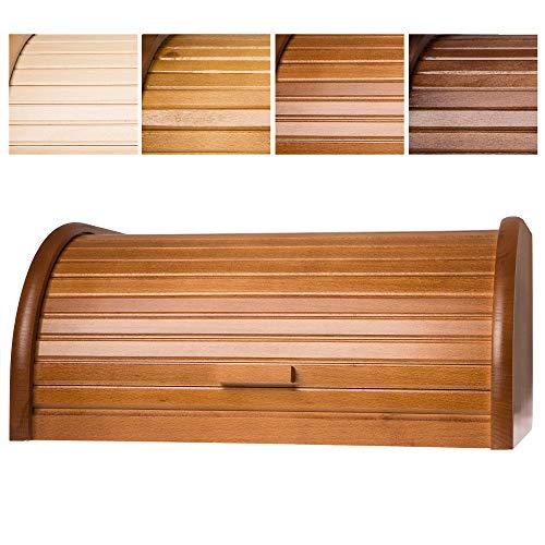 KADAX geräumiger Brotkasten aus hochqualitativem Holz, Brotbehälter mit Rolldeckel für längere frische, Brotbox mit Frontklappe, öko, Rollbrotkasten, Brotaufbewahrung (Hellbraun)