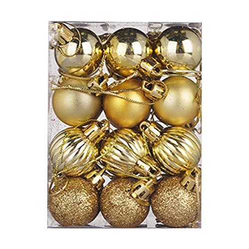 HOUMENGO 24 Weihnachtskugeln Baumschmuck, Christbaumkugeln aus Kunststof, Christbaumschmuck Weihnachten Anhänger Deko modisch Glänzend Bruchsiche Weihnachtskugeln (24 Stück, Gold)