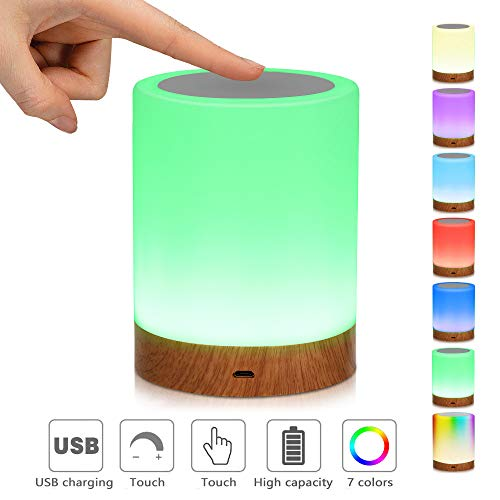 LED-Nachtlicht,Nachttischlampe Stimmungslicht,Smart Touch Control Nachtlicht,Dimmbar Wiederaufladbarer USB-Anschluss,RGB Farbwechsel-Modi für Kinder, Schlafzimmer, Camping