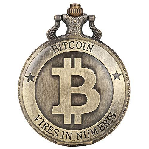 Retro-Quarz-Taschenuhr für Herren, einzigartiges Bitcoin-Muster, dünne Kettenanhänger, Armbanduhr für Männer, klare große arabische Ziffern, weißes Zifferblatt, Taschenuhren für Frauen