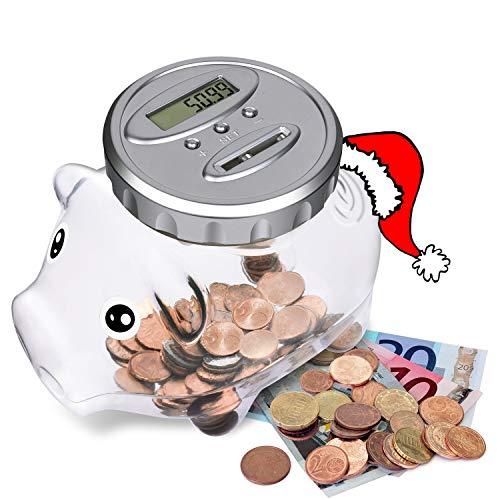 LarmTek Digitale Sparschwein mit automatische LCD Anzeige,Spardose Zähler Münzzählern Sparbüchse große Kapazität, Kinder Freunde Erwachsene zu Weihnachten, Neujahr, Geburtstag