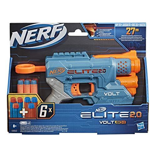 NERF Hasbro E9952EU4 Elite 2.0 Volt SD-1 Blaster – 6 Darts, Ziel-Lichtstrahl, 2-Dart Aufbewahrung, 2 Tactical Rail Steckschienen