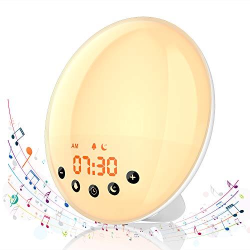 Hosome Wake Up Licht Lichtwecker mit Sonnenaufgang Sonnenuntergang Simulation, Wecker mit Schlummerfunktion 8 natürlichen Klängen 7 Farben Nachttischlampe Stimmungslicht für Kinder Damen Herrn