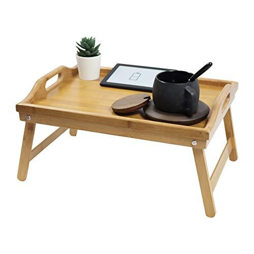 KKTONER Bambus Betttablett Frühstückstablett mit klappbaren Füßen Betttisch Serviertablett