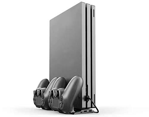 ElecGear PS4 Vertikaler Ladestation Ständ mit Dual Charging Standfuß Ladegerät Halterung für DualShock 4 Controller mit 4X Mini-Adapter-Dongle und 2X USB-Anschluss für PS4, PS4 Slim, PS4 Pro