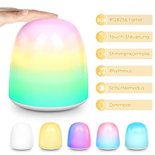 PHYSEN LED Nachtlicht für Kinder, Wiederaufladbares Nachttischlampe mit RGB256 Farbwechsel und Stimmungslicht mit Dimmer und Touch Sensor, Tischlampe zum Lesen, Schlafen und Entspannen