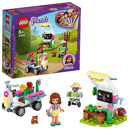 LEGO 41425 Friends Olivias Blumengarten Spielset mit Gartengeräten, Zobo-Roboterfigur und Spielzeug-Wagen zum Sammeln von Pflanzen