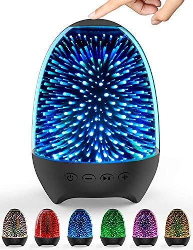 Nachtlichttischlampe Bluetooth-Lautsprecher,7 Farben Berührungssensor-Nachttischlampe, Musik-Player, FM-Radio, Stimmungslicht Tischlampe mit dimmbare warme Lichter für Mädchen Kinder Teenager