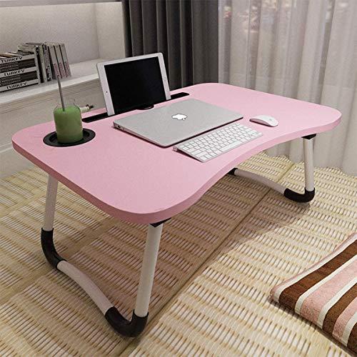 Laptop-Tisch, ACITMEX Tragbar Laptop Betttablett Tisch mit klappbaren Beinen & Getränkeschlitz, Lesehalter, Notebook-Ständer, Frühstückstablett für Sofa, Bett, Terrasse, Balkon, Garten (Rose)