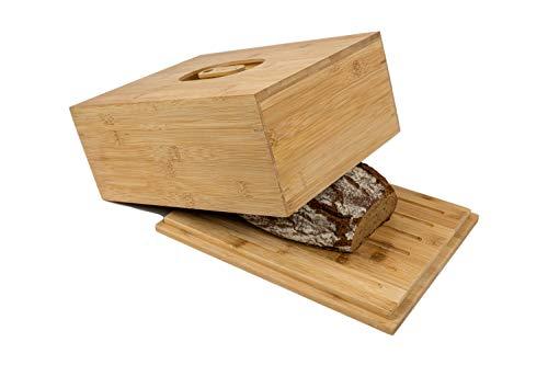 naturlik Brotkasten aus hochwertigem Holz (Bambus) mit Schneidebrett   Innovativ: 2 Griffe - Deckel oder Boden als Schneidebrett   Brotbehälter einfach aufheben und losschneiden