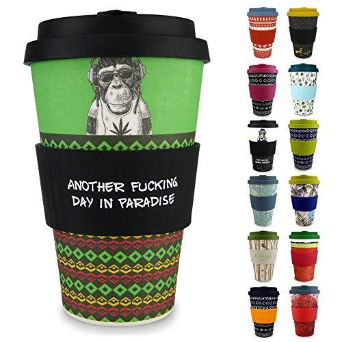 Morgenheld Dein trendiger Bambusbecher   Coffee-to-Go-Becher   Kaffeebecher mit Silikondeckel und Banderole in coolem Design, 400ml - Chilling Jim