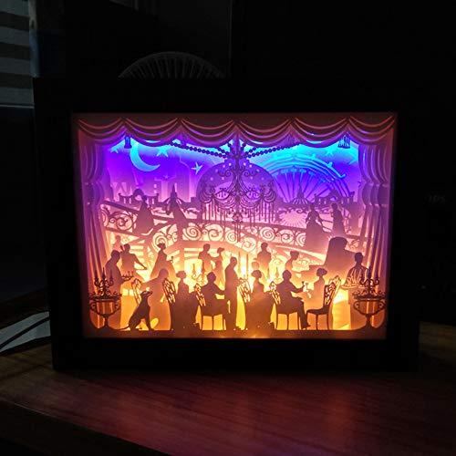 XZYP Papercut Leuchtkästen, Bedside Geschenk Dekorative Leuchten, Lampe Licht Nacht 3D-Schatten-Kasten-Led, Dekorative Stimmungs-Licht Für Kinder Und Erwachsene