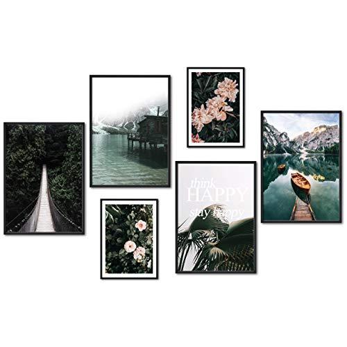 myestado® - Premium Poster Set Bilder Wohnzimmer Modern Schlafzimmer Bild für Ihre Wand - ohne Rahmen - 4 x DIN A3 & 2 x DIN A4 - ca. 30x42 & 21x30 » Brücke «