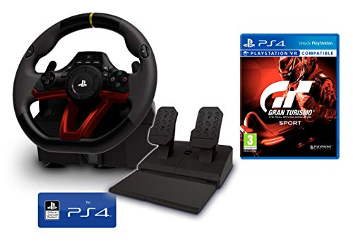 PS4 Lenkrad und Pedale [Neues Modell] Wireless Kabelloses Offiziell Sony PS4 lizensiert + Gran Turismo Sport - GT Sport