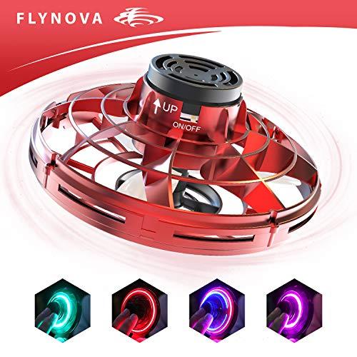 suroper Mini Drohne, UFO Flying Spinner 360°Rotierenden USB-Aufladung RGB-LED-Lichtern Spiele Lernspielzeug Kinder, Erwachsene,Gruppen Rot