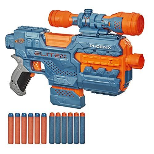 Hasbro E9961EU4 Elite 2 Phoenix CS-6 motorisierter Blaster, 12 Nerf Darts, 6-Dart Clip-Magazin, Fernrohr, Tactical Rails, Befestigungspunkte
