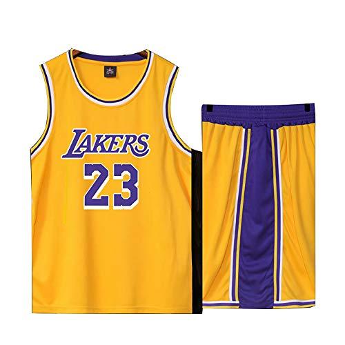 Basketball Trikot für Lebron Raymone James No.23 Lakers Fans Basketball ärmellose Anzug Kinder Erwachsene schwarz lila Sportswear T-Shirt Weste + Shorts jugendlich weiß gelb Sweatshirt-Yellow-M