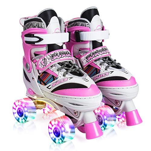 Kuxuan Rollschuhe, Kinder Quad Skate, für Mädchen,alle Räder leuchten,Einstellbare Größe des Schuhs (Pink2, S)