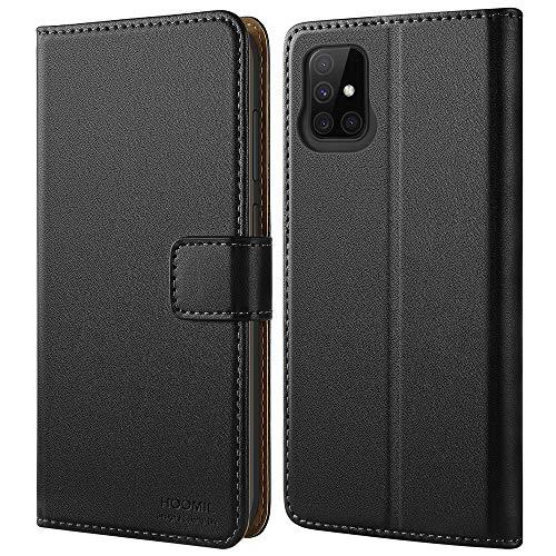 HOOMIL Handyhülle für Samsung Galaxy A51 Hülle, Premium PU Leder Flip Case Schutzhülle für Samsung Galaxy A51 Tasche, Schwarz