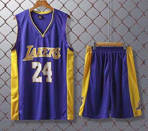JX-PEP Basketball Uniformen Lakers # 24 Retro Basketball Sommer Trikots Fan Shirt Weste Sleeveless Sportswear Atmungsaktive Sportuniformen,Lila,XXXL