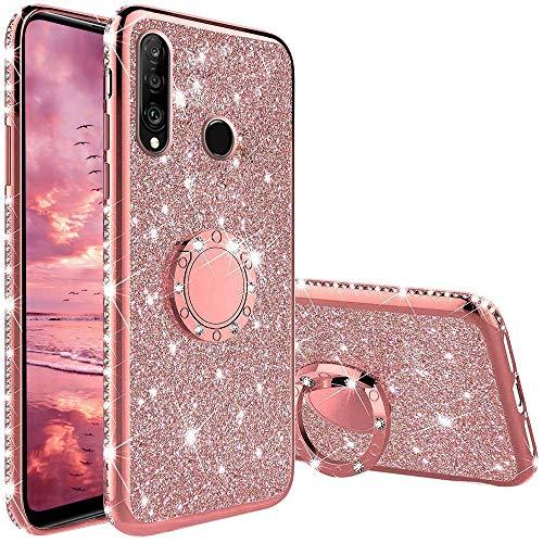XTCASE Hülle für Huawei P30 Lite, Glitzer Bling Glänzend Strass Diamant Handyhülle mit 360 Grad Ring Ständer Ultradünn Stoßfest TPU Silikon Tasche Schutzhülle - Rosé Gold